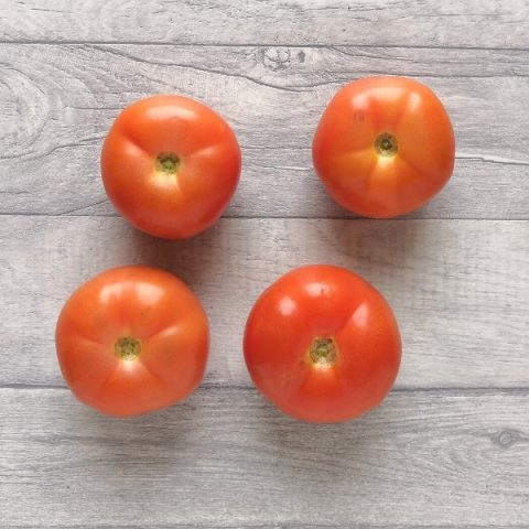 four beef tomatoes on grey background