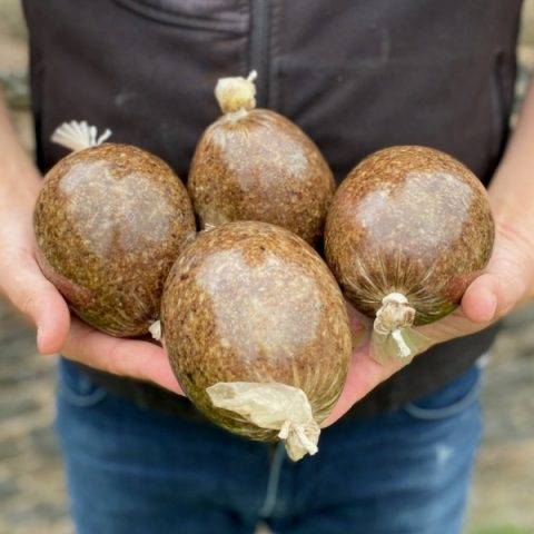 A person holding 4 packs of gluten free haggis in both hands