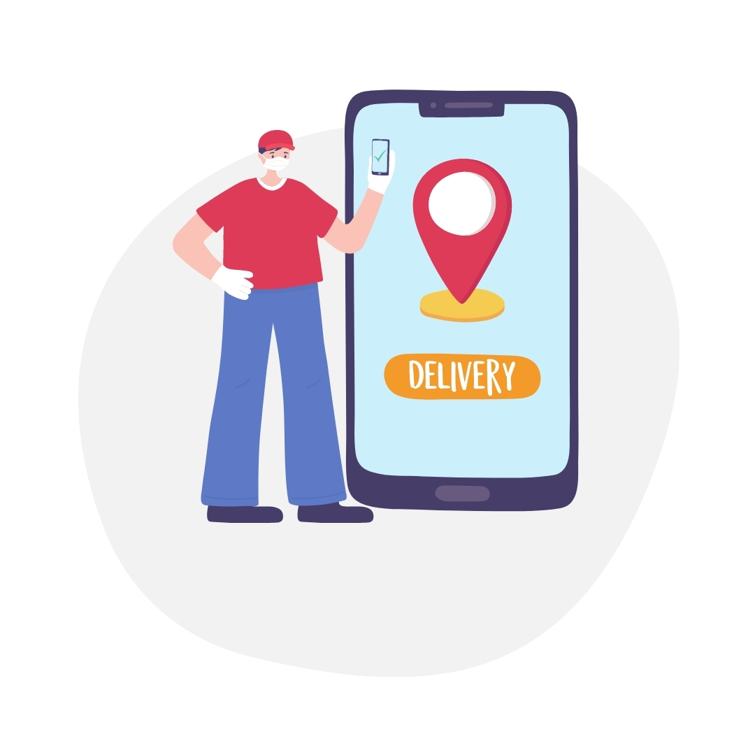 man with red tshirt holding a smartphone next to a large smartphone with pin map icon
