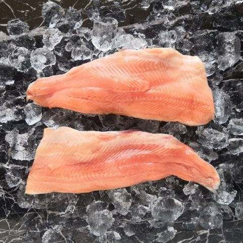 two rainbow trout fillets on ice and black marble