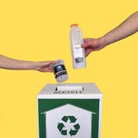 plastic packaging tub and bottle recycling on yellow background