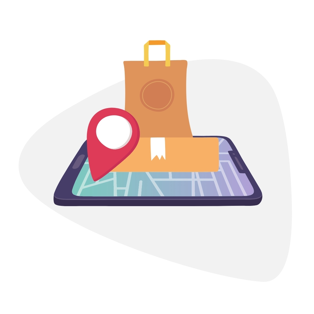 red map pin on smartphone and brown paper bag icon