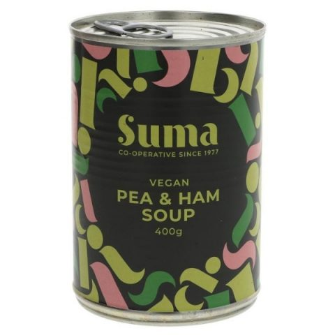 a can of pea and ham soup front facing