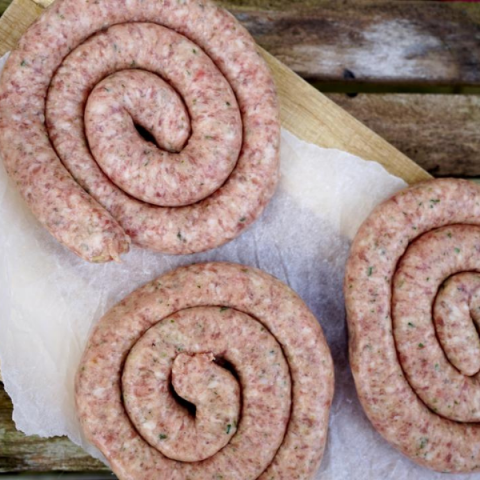 Cumberland ring sausages on a table